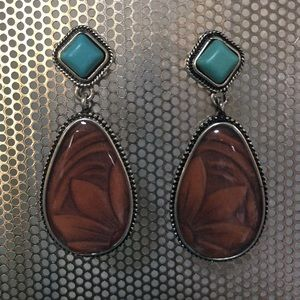 SOUTHWESTERN EARRINGS Tooled Leather Turquoise